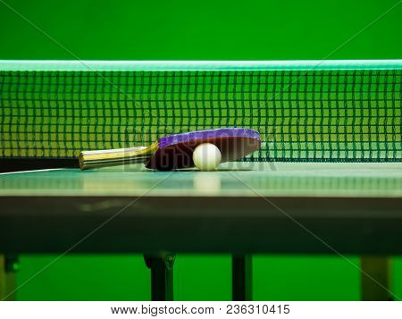 Table Tennis racket with ball on a Table Tennis Table