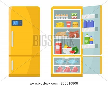 Vector Illustrations Of Empty And Closed Refrigerator With Different Healthy Food. Refrigerator Kitc