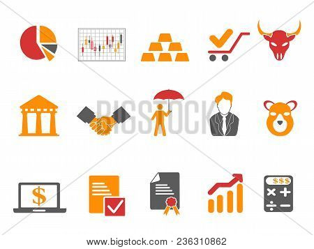 Isolated Orange And Red Color Stock Exchange Icons Set From White Background