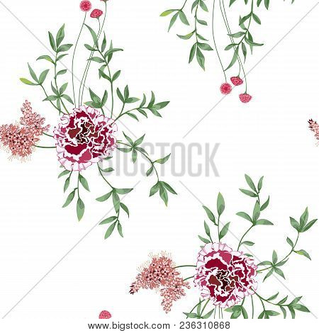 Trendy Floral Background With Wild Flowers And Twigs With Leaves In Hand Drawn Style On White. Bloom