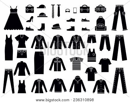 Monochrome Illustrations Of Clothes For Male And Female. Vector Clothes Fashion, Clothing Accessorie