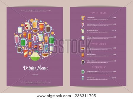 Vector Vertical Menu Template With Nonalcoholic Drinks In Glasses, Like Smoothie, Tea, Coffee, Juice