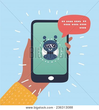 Vector Cartoon Illustration Of Chatbot Business Concept. User Girl Chatting With Robot Mobile Applic