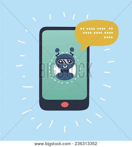 Vector Cartoon Illustration Of Chatbot Concept. Chatting With Chat Bot On Smartphone. Mobile Connect