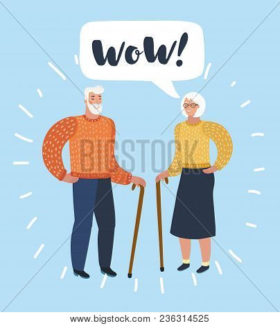 Vector Cartoon Illustration Of Old Man And Old Women With Walking Cane Talking. Talk Of Spouse Or Fr