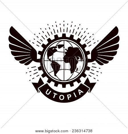 Vector Winged Logo Composed Using Earth Globe Surrounded With Industrial Gear. Proletarian Revolutio