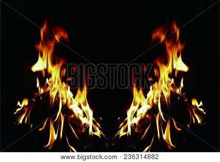 Background Of Fire. Texture Fire Flames Throughout The Space. Fire Red Up Close. The Background With