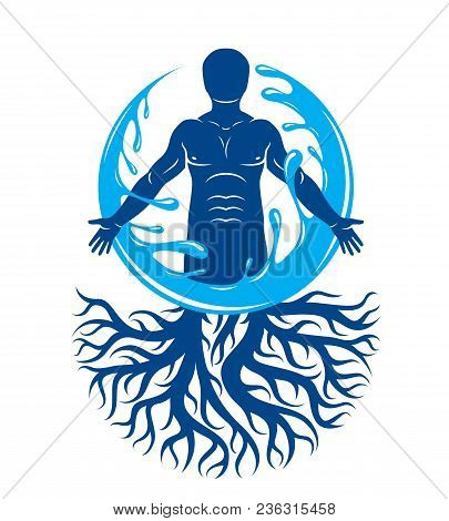 Vector Graphic Illustration Of Muscular Human, Individual Created With Tree Roots And Surrounded By