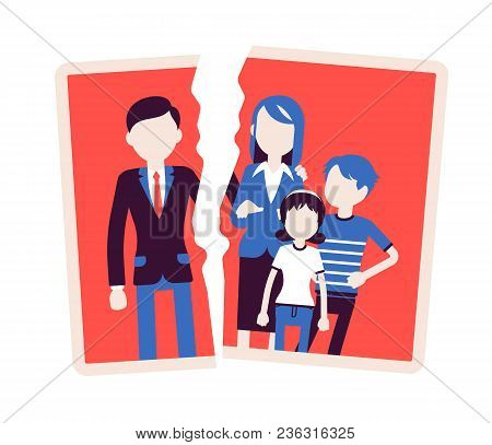 Family Breakup Problem. Photo With Rift Between People, Serious Quarrel, Spouse Disagreement, End Wi