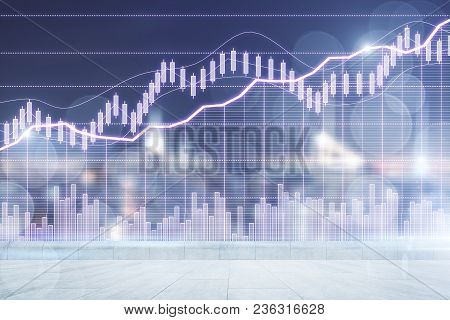 Abstract Forex Chart Background. Finance And Investment Concept. Double Exposure