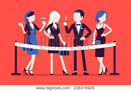 Cutting Red Ribbon Ceremony. Group Of Young Elegant People At Official Opening Event, New Business B