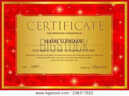 Certificate, Diploma Of Completion Template (abstract Design Template, Gold Background) With Stars A