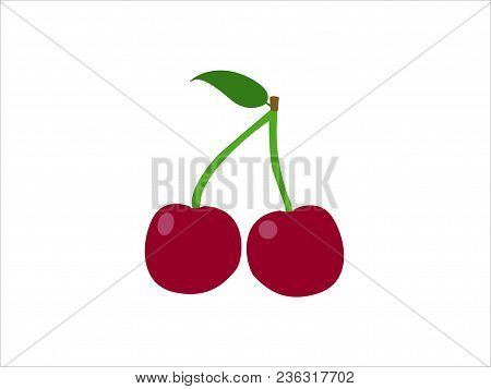 Sweet Cherries, Fresh Healthy Cherries.cherry Icon, Vector Fruit Illustration,