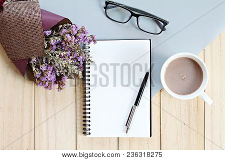 Business, Planning, Spring Or Summer Concept : Top View Or Flat Lay Of Open Notebook Paper, Bouquet