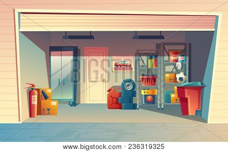 Vector Cartoon Illustration Of Garage Interior, Storage Room With Auto Equipment, Tires, Jerrican, M