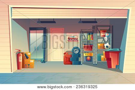 Vector Cartoon Illustration Of Garage Interior, Storage Room With Auto Equipment, Tires, Jerrican, M