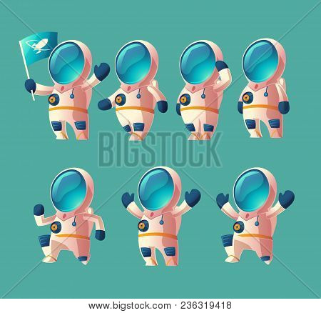 Vector Set Of Cartoon Spaceman Kid, Moving Cosmonaut In Spacesuit, Child In Helmet Isolated On Blue