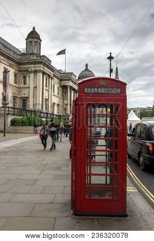 London, England - June 16 2016: The National Gallery On Trafalgar Square, London, England, United Ki