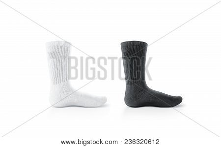 Blank Black And White Long Socks Design Mockup, Isolated. Pair Sport Cotton Sox Wear Mock Up. Tall C