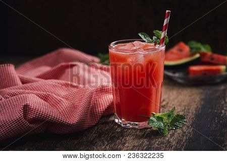 Refreshing Summer Watermelon Juice In Glasses With Slices Of Watermelon