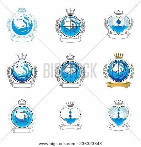 Sea Wave Splash Vector Symbol. Pure Water As Most Important Resource For Human Activity Theme. Alter