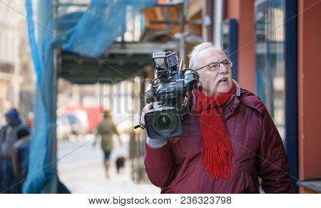 Czech Republic, Prague,  26.02.2018: Cameraman Street. Operator In Social Environment, Filming, News
