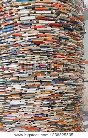 Prague, Czech Republic, 26.02.2018: Stack Of Books Background. Many Books Piles.