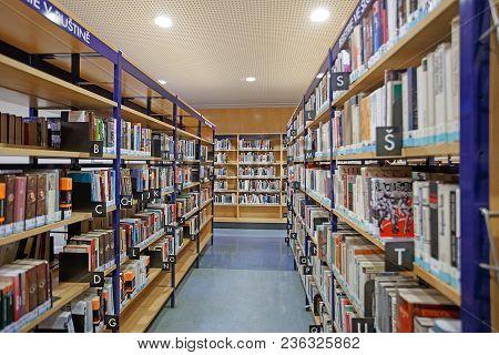 Prague, Czech Republic, 26.02.2018: Book Racks In The Library