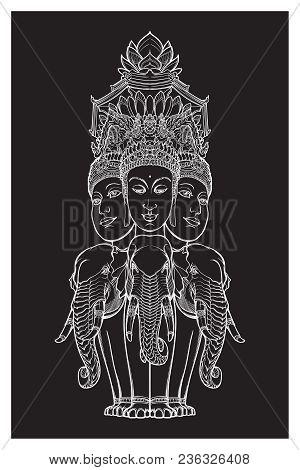 Statue Representing Trimurti - Trinity Of Hindu Gods Brahma, Vishnu And Shiva, Sitting On Three Elep