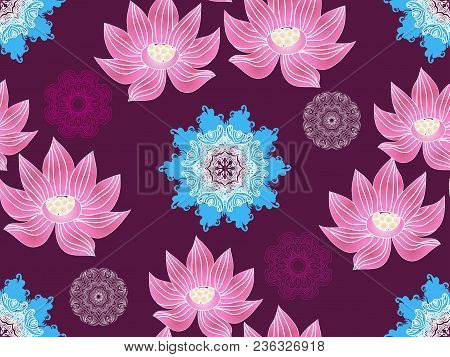 Beautiful Seamless Pattern  With Flower Lotus.  Japanese ? Indian Pattern. Perfect For Site Backgrou