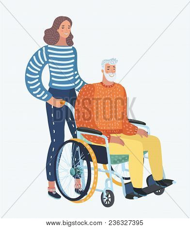 Vector Cartoon Illustration Of Young Woman Social Worker Strolling With Elder Grey Haired Man In Whe