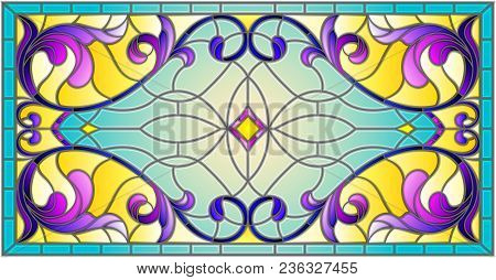 Llustration In Stained Glass Style With Abstract  Swirls,flowers And Leaves  On A Light Background,h