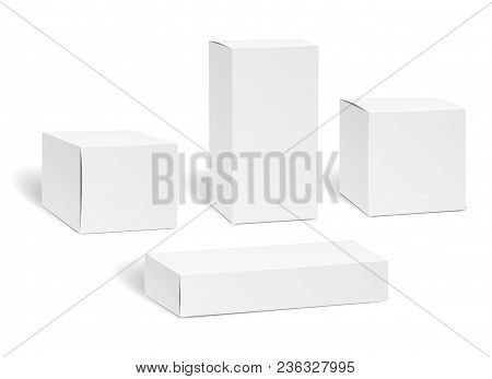 Blank Box Set. Packaging Mockup Isolated On White Background, Rectangle Carton Empty Package Boxes V