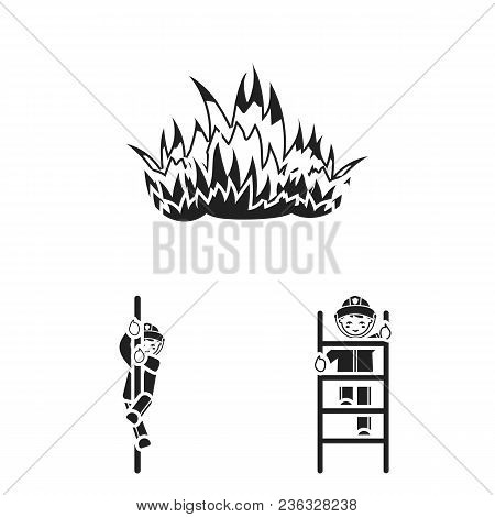Fire Department Black Icons In Set Collection For Design. Firefighters And Equipment Vector Symbol S