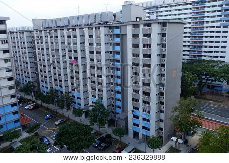 Singapore-15 Apr, 2018: View Of Singapore Residential Building Also Known As Hdb
