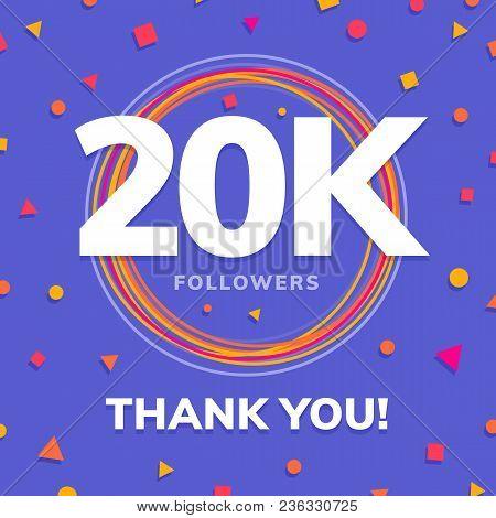 20k Followers, Social Sites Post, Greeting Card Vector Illustration