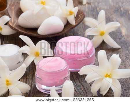 Natural cosmetics with spring flowers, fresh as spring concept