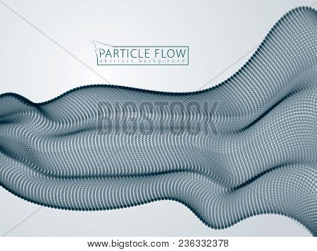 Sound Wave, Particles Flow, Effect In Motion. Blurred Dots Vector Abstract Background. Beautiful Wav