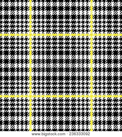 Check Fashion Tweed White, Yellow And Black Seamless Pattern For Fashion Textile Prints, Wallpaper,