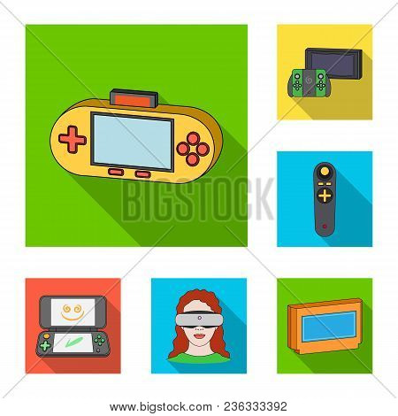Game Console And Virtual Reality Flat Icons In Set Collection For Design.game Gadgets Vector Symbol
