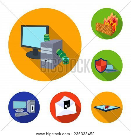 Hacker And Hacking Flat Icons In Set Collection For Design. Hacker And Equipment Vector Symbol Stock