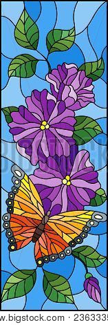 Illustration In Stained Glass Style With Bright Butterfly Against The Sky, Foliage And Flowers,on Bl