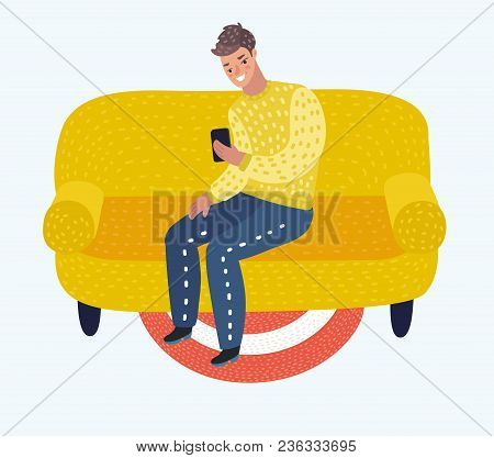 Vector Cartoon Illustration Of Man Sitting On Couch. Person Man Relaxation, Comfortable, Guy Resting