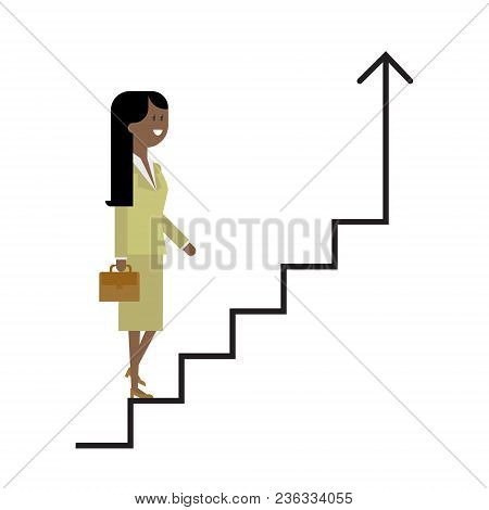 Career Ladder, A Woman Climbs The Stairs, A Businesswoman, A Successful Career. Vector, Material Fla
