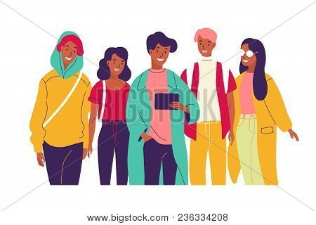 Happy Friends Watching Video Together. Group Of Young Smiling Men And Women Dressed In Trendy Clothe