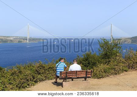 Anadolu Kavagi, Turkey - September 12, 2017: These Are Unidentified People On The Observation Deck N
