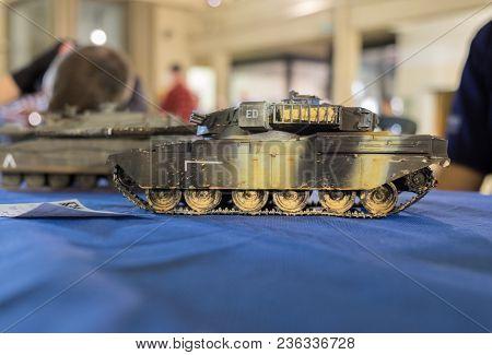 Jerusalem, Israel - April 3, 2018: Scale Model Of Undefined Heavily Armored Personnel Carrier