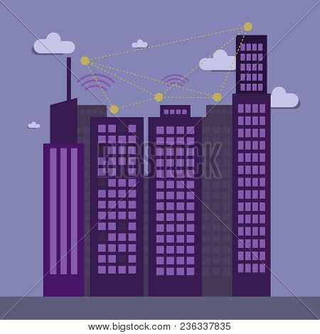 Wi-fi Connection Design, City High Buildings, Vector Illustration Eps10 Graphic