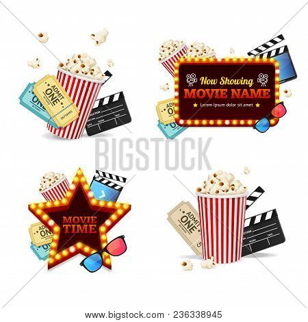 Realistic Detailed 3d Cinema Set Include Of Ticket, Popcorn, Camera And Clapboard. Vector Illustrati