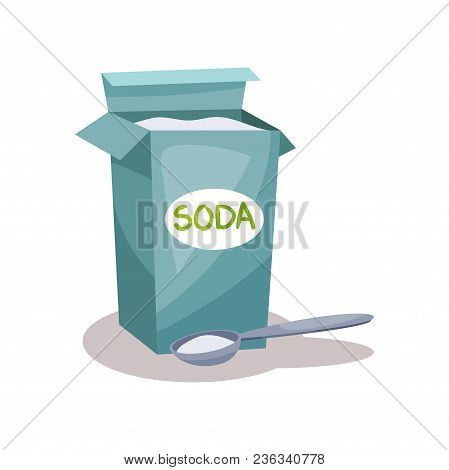 Soda In A Craft Paper Bag And Spoon, Baking Ingredient Vector Illustration Isolated On A White Backg